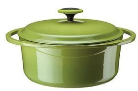 Arrabio de las cazuelas del esmalte del arrabio que cocina verde de los potes A24C