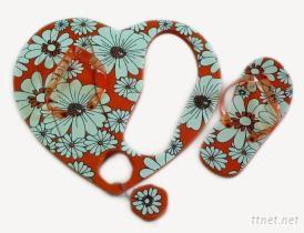 心型菜板海灘鞋, 珠錬鑰匙圈