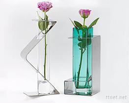 白鐵配玻璃杯花瓶