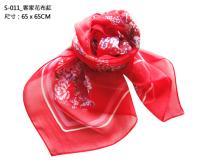 S-011_客家花布紅絲巾 方巾