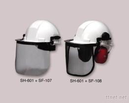 工业安全帽, 3IN-1耳罩, 防护面罩