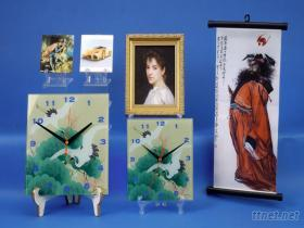 玻璃畫鐘/桌鐘/時鐘/畫鐘/家飾品
