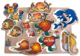 海洋動物拼圖印章