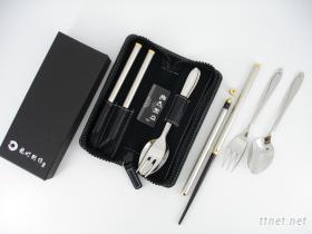 黑檀雙截筷附匙叉皮套禮盒