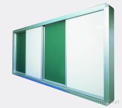 開閉式多層白黑板