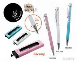 水晶金屬筆-水性原子筆