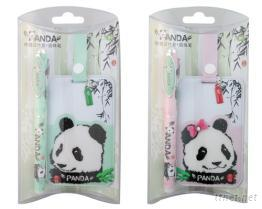 熊貓鋼珠筆+熊貓行李吊牌