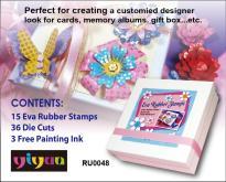 DIY礼物盒橡皮印章组-造型纸卡+印章+印台