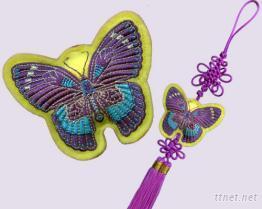 中國結刺繡蝴蝶香包吊飾
