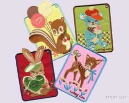 可愛動物刺繡行李牌