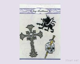 十字架&骷髏頭刺繡貼紙組合