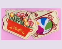 花朵刺繡行李吊牌-可放置悠遊卡