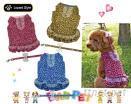 豹纹小型犬荷叶裙+拉绳