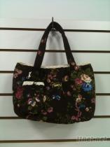 黑玫瑰布製手提包