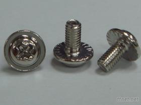P頭十字針穴螺絲公制機械牙附一片花齒平華司鐵鍍鎳