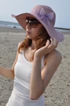 線條雙草波浪葉帽