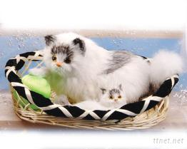 聲控抱球母子貓