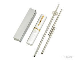 圓筆夾管盒不鏽鋼螺旋雙節筷組