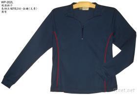 女性長袖立領POLO衫 - 拉鍊 (丈青色/薄布)