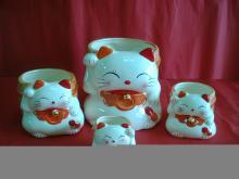福气猫花器