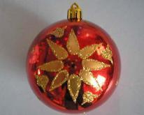 聖誕球 (紅色亮面彩繪圓球)