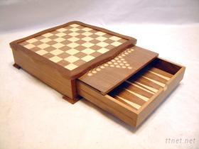 胡桃波浪多用西洋棋盒