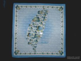 台灣魚100%棉彩色印花手帕