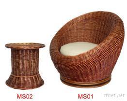 半球形柳編休閒桌椅