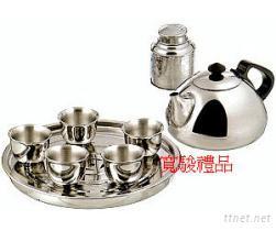 61526702 不锈钢茶壶杯罐盘组