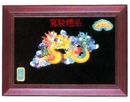 80210808 千禧黄龙雕花框壁饰