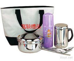 50731421 兩色袋保溫杯便當餐具組