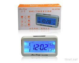 声控LCD冷光电子鬧钟
