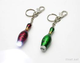 (保齡球型)LED木製鑰匙圈
