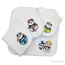 貓熊家族刺繡小方巾