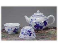 青花茶具組-一壺二杯