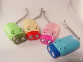 小豬手壓發電手電筒