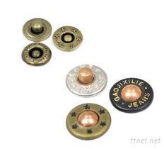 袋口釘, 牛仔釦, 8 mm, 9.5 mm, 10 mm, 12 mm