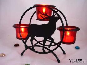 麋鹿玻璃燭臺