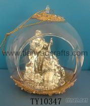 鍍銀宗教聖誕球吊飾