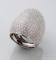 微镶银八心八箭戒指