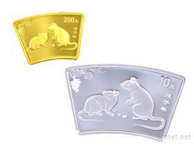 2008中國戊子鼠年扇形紀念金銀套幣