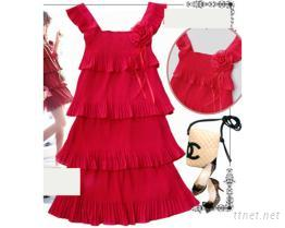 紅色雪紡洋裝