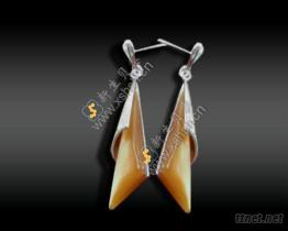 貝殼鑲嵌銀飾耳墜