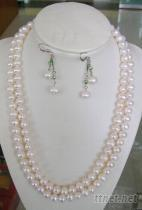 淡水珍珠項鏈 + 耳環