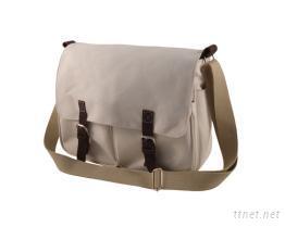 帆布雙前袋休閒側揹包