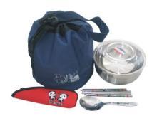 (藍)束口袋+13碗PC蓋+熊貓二件餐具