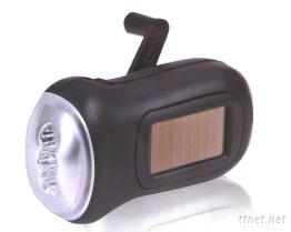 手搖式+太陽能充電手電筒