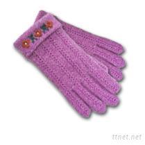 麻花手工繡針織手套