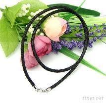 3mm,16寸真皮編織繩黑色水滴扣,首飾項鏈繩,925純銀首飾,銀飾配件批發