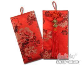 紅花布雙福-大紅包袋